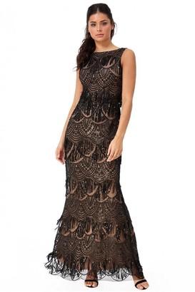 Goddiva Sequin and Lace Maxi Dress - Black