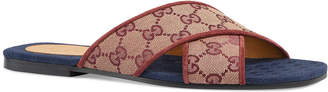 Gucci Senior Original GG Suede Slide Sandals