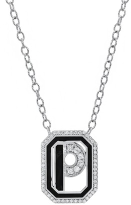 Colette 18kt white gold Gatsby P initial diamond and black enamel necklace