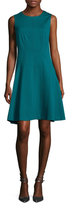 Magaschoni Solid Crewneck Flared Dress