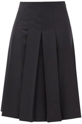 Jil Sander Pleated Crepe Skirt - Womens - Navy