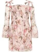 River Island Girls Pink floral bell sleeve bardot dress