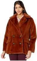 Free People Solid Kate Faux Fur Coat (Terracotta) Women's Clothing