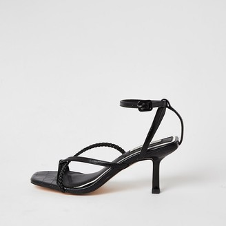 River Island Black square toe midi heel sandals