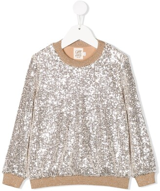 Caffe' D'orzo Sequin Embroidered Sweatshirt