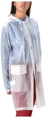 Rains Foggy White Polyurethane And Polyester Womens Hooded Coat - EXTRA SMALL - White
