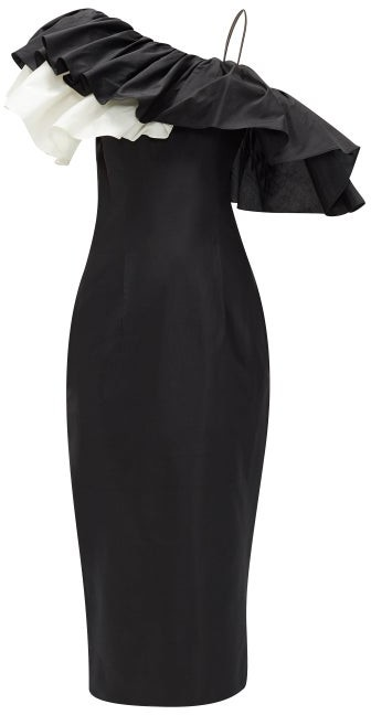 Rasario One-shoulder Ruffle-trim Silk Midi Dress - Black White