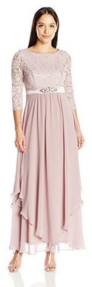 Jessica Howard JessicaHoward Women's Lace Bodice Gown with Inset Waist