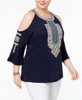 Style&Co. Style & Co Plus Size Embroidered Cold-Shoulder Top, Only at Macy's