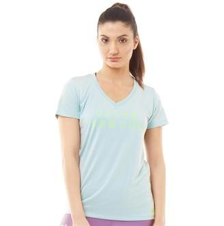 Under Armour Womens Tech Graphic V-Neck Short Sleeve Top Atlas Green/Lime Light