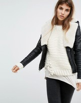 Goosecraft Leather Biker Jacket With Faux Shearling Collar