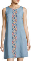 Neiman Marcus Embroidered-Front Sleeveless Dress, Blue