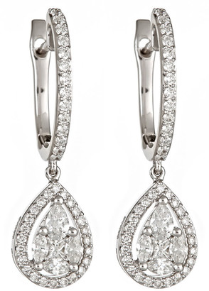 Zydo 18k White Gold Diamond Huggie-Teardrop Earrings