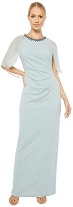 Adrianna Papell Chiffon Capelet and Crepe Gown (Frosted Sage) Women's Dress