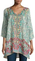 Johnny Was Tappa 3/4-Sleeve Mixed-Print Tunic, Multi Colors