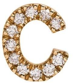 Loquet 18k yellow gold C diamond letter charm