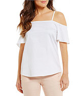 Antonio Melani Tempest Cold-Shoulder Solid Cotton Sateen Blouse
