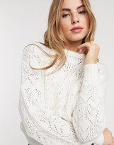 Pieces knitted jumper in cream