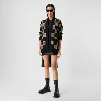 Burberry Chequer Merino Wool Blend Oversized Cardigan