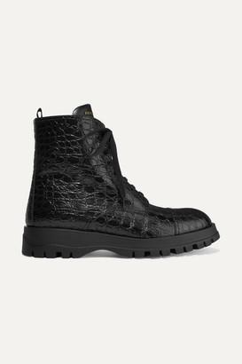 Prada Croc-effect Leather Ankle Boots - Black