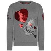 Philipp Plein Philipp PleinGirls Grey Sequin Heart & Diamante Skull Sweater