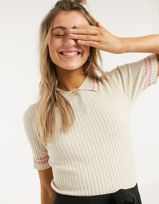 Monki Valle knitted short sleeve polo shirt with pink stripe in beige
