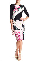 ECI 3/4 Length Sleeve Floral Scuba Dress