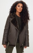 PrettyLittleThing Black PU Aviator Jacket