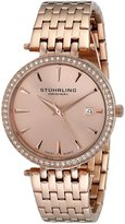Stuhrling Original Women's 579.04 Vogue Soiree Tiara Swiss Quartz Swarovski Crystal Date Rose Tone Bracelet Watch