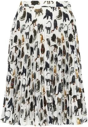 Burberry Monkey Print Pleated Skirt