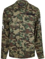 River Island MensGreen camo badge jacket