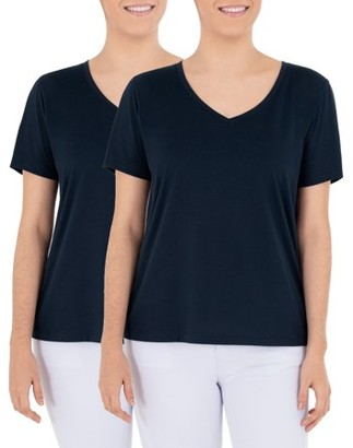 Time and Tru Women's Essential V-Neck T-Shirt, 2 Pack Bundle