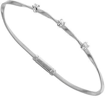 Marco Bicego Marrakech 18K White Gold Twisted Bracelet with Diamonds