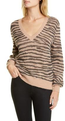 Joie Inira Tiger Stripe Metallic Sweater