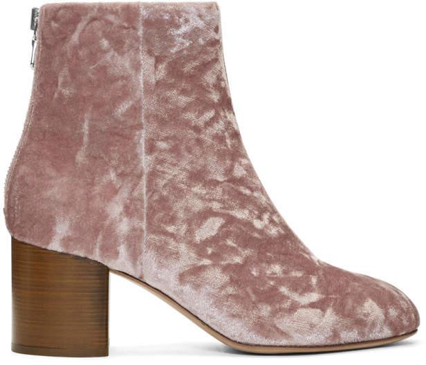 Rag & Bone Pink Velvet Drea Boots