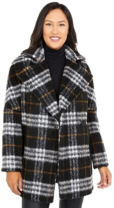 Calvin Klein Wool Peacoat with One-Button Closure and PU Trim Pockets (Black Multi) Women's Coat