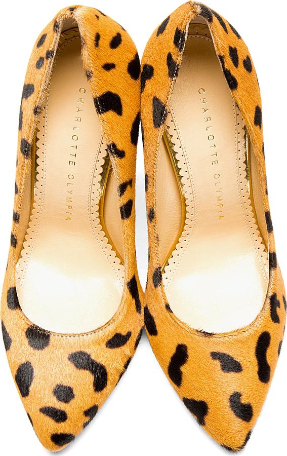 Charlotte Olympia Black & Tan Hyena Print Calf-Hair Pointed Monroe Pumps
