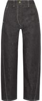 Lemaire Cropped High-rise Wide-leg Jeans - Dark denim