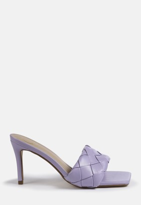 Missguided Lilac Square Toe Woven Heels