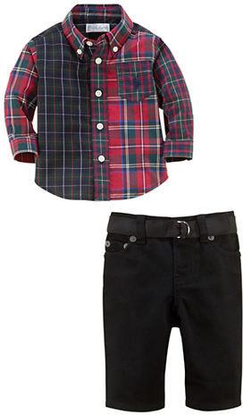 Ralph Lauren Newborn Boys 0-9 Months Plaid Shirt & Denim Pants Set