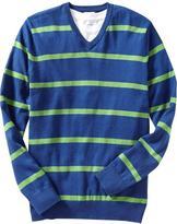 Old Navy Men's Striped Lightweight V-Neck Sweaters
