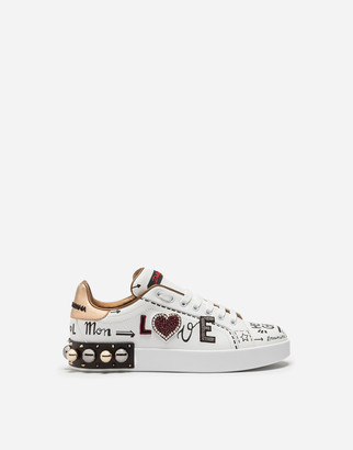 Dolce & Gabbana Printed Calfskin Portofino Sneakers With Patch And Embroidery