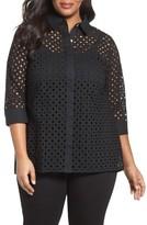 Foxcroft Plus Size Women's Eyelet Cotton Tunic