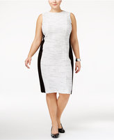 Calvin Klein Plus Size Colorblocked Tweed Sheath Dress