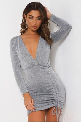 The Fashion Bible Silver Ruched Bodycon Dress