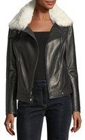 Theory Pomono B Wilmore Bonded Lamb Leather Coat