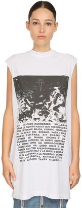 Rick Owens Printed Cotton Jersey Sleeveless T-Shirt