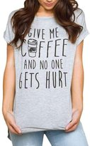 Winhurn Casual Women GIVE ME COFFEE Pattern Short Sleeve T-Shirt Blouse (S, )
