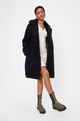 Nasty Gal Womens Miles Fur Hour Faux Fur Longline Coat - black - L