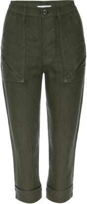 Frame Le Beau High Waist Crop Linen Pants